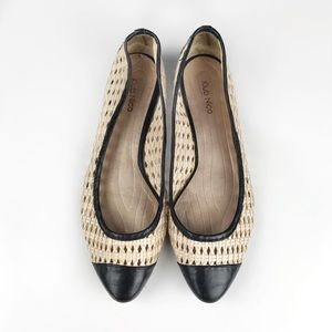 Anthropologie Woven Leather Toe Cap Pointy Flats